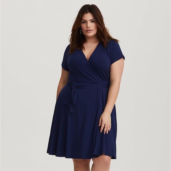 Torrid Plus Size Navy Studio Knit Wrap Dress 0 - L